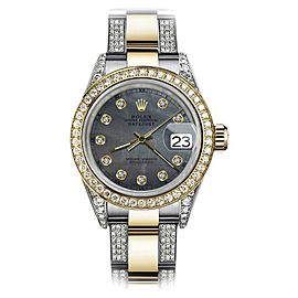 Rolex Oyster Perpetual Datejust Stainless Steel/ 18K Yellow Gold Blue Diamond Dial 26mm Womens Watch