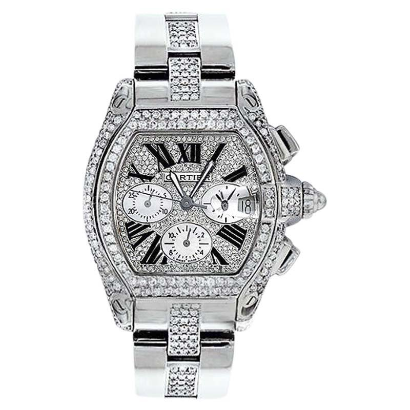 "Image of ""Cartier Roadster Chronograph Stainless Steel Diamond Dial 42.8mm"""