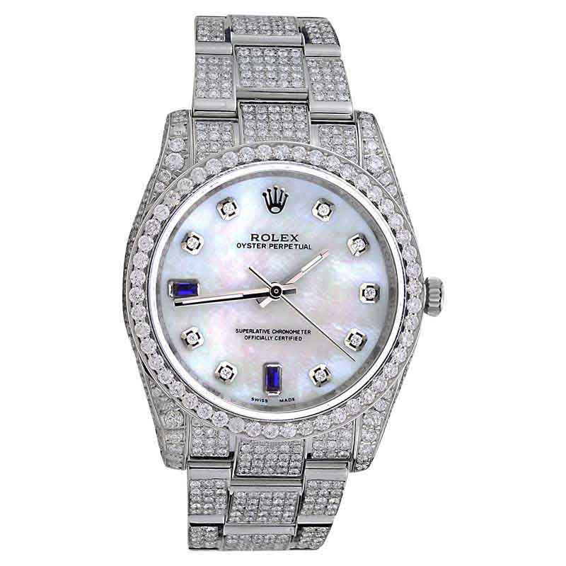 "Image of ""Rolex Oyster Perpetual Stainless Steel Diamonds With Sapphire Dial"""