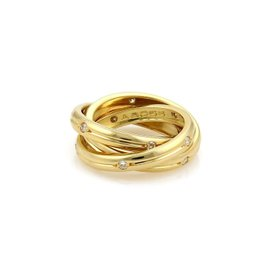 Cartier Trinity 18k Yellow Gold 0.30 Ct Diamond Grooved 3 Band Ring Size 4.5