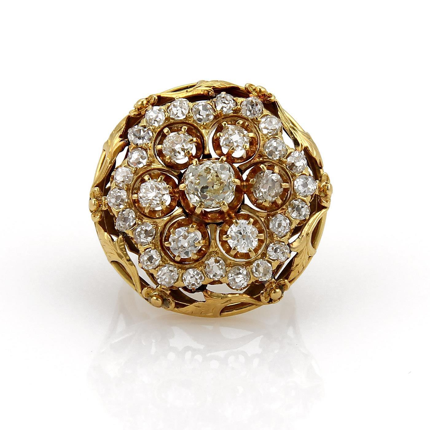 "Image of ""14k Yellow Gold 4.00 Ct Diamond Large Victorian Round Top Floral Ring"""