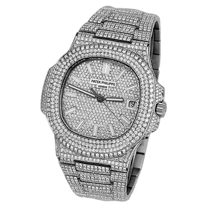 "Image of ""Patek Philippe Nautilus Stainless Steel Automatic Iced Out Diamond"""