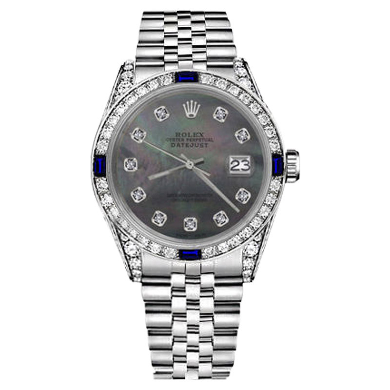 """Image of """"Rolex Datejust Stainless Steel Black Mother of Pearl Dial with"""""""