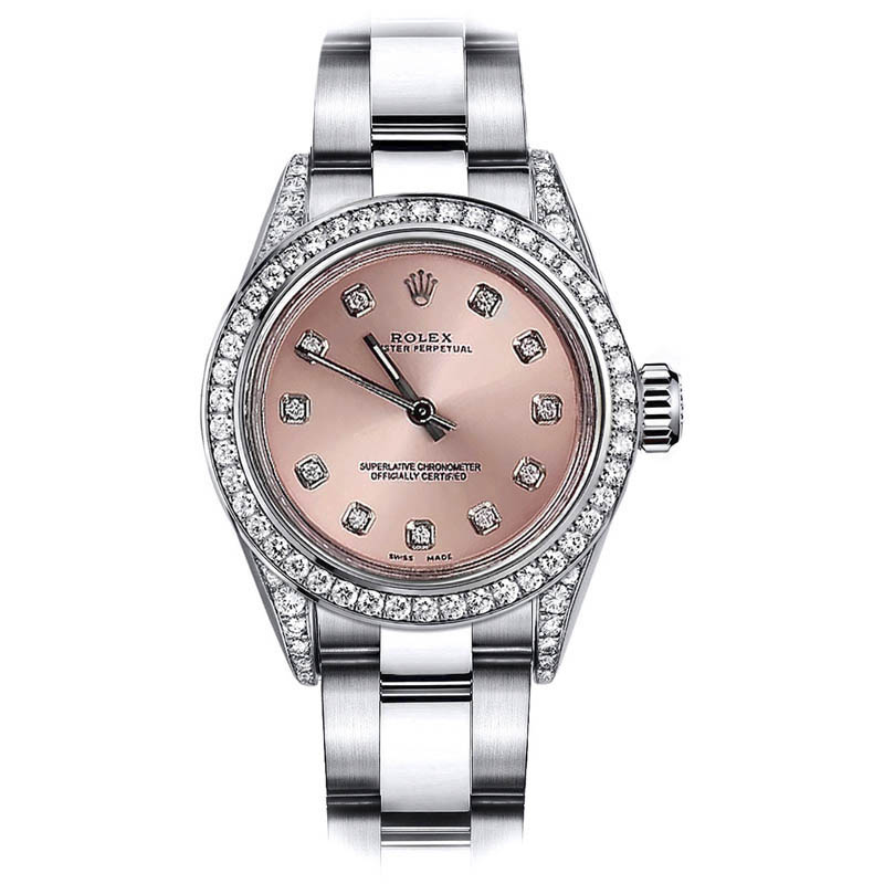 """Image of """"Rolex Oyster Perpetual 67480 Stainless Steel & Diamonds Salmon Dial"""""""