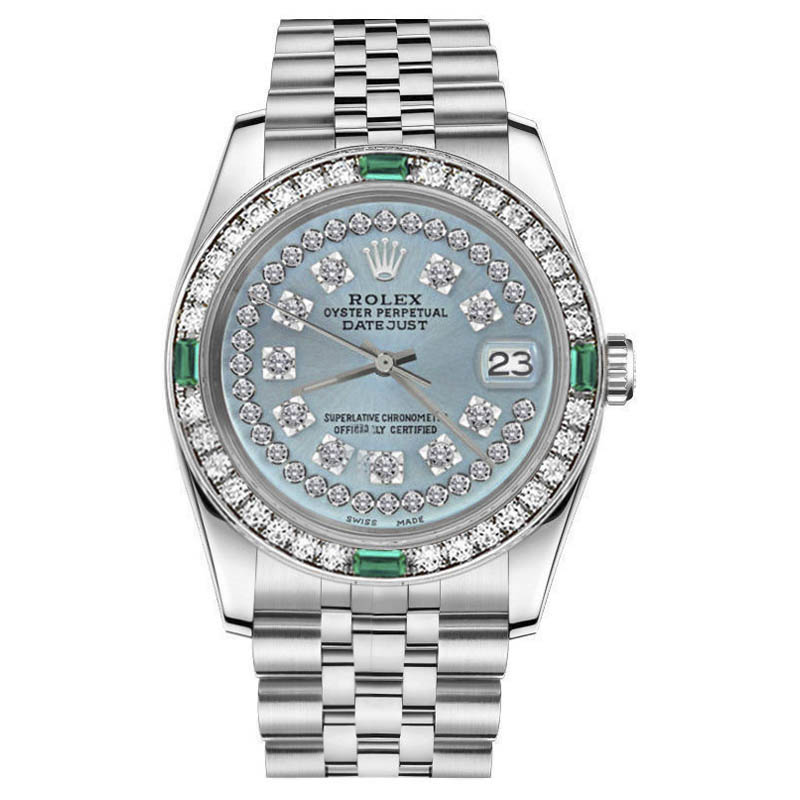 "Image of ""Rolex Datejust Stainless Steel Frost Blue String Diamonds all Around"""