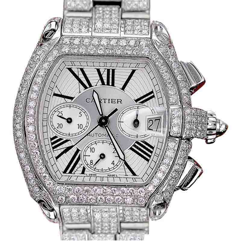 "Image of ""Cartier Roadster XL W62020X6 Stainless Steel With White Dial 47.6mm"""