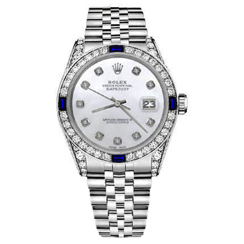 """Image of """"Rolex Datejust Stainless Steel White Mother of Pearl Dial Sapphire &"""""""