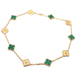 Van Cleef & Arpels Limited Edition Vintage Alhambra 18K Yellow Gold Malachite Necklace
