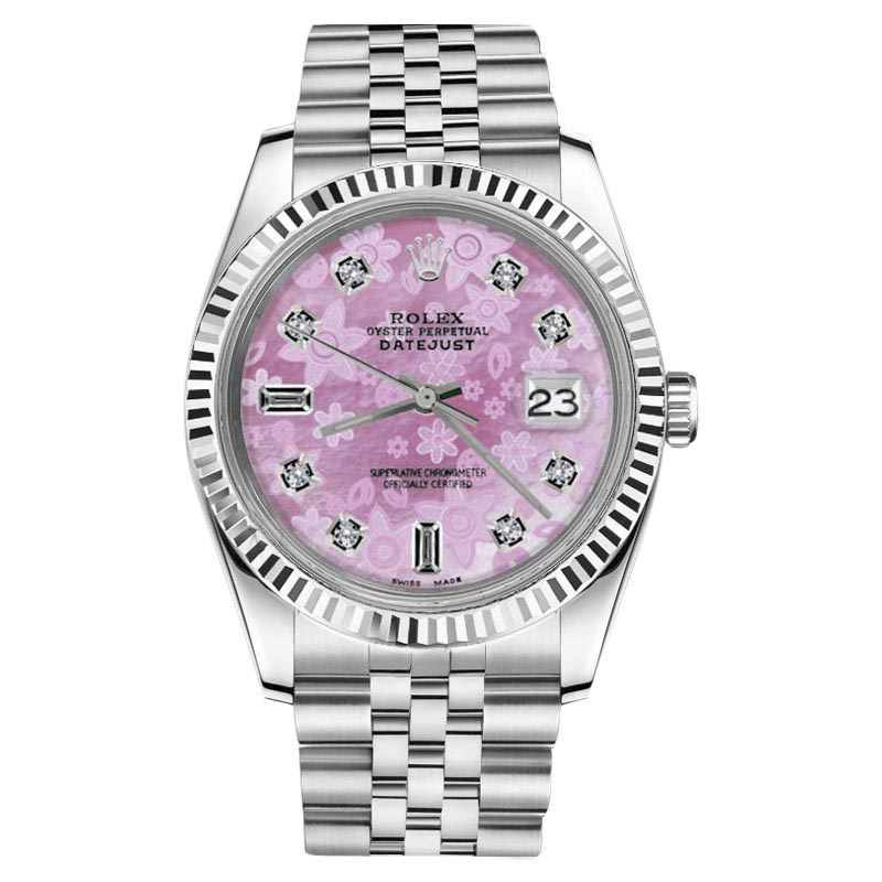 "Image of ""Rolex Datejust Stainless Steel With Pink Mother Of Pearl Dial 26mm"""