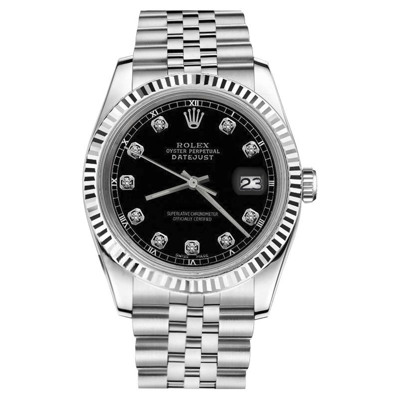 """Image of """"Rolex Datejust Stainless Steel With Black Color Dial 26mm Womens Watch"""""""