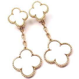 Van Cleef & Arpels 18K Yellow Gold Mother Of Pearl Magic Alhambra Earrings