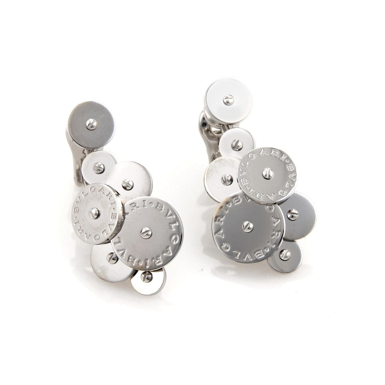 """Image of """"Bulgari 18K White Gold Cicladi Cluster Discs Drop Dangle Earrings"""""""