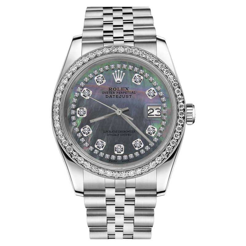 """Image of """"Rolex Datejust Black Mother of Pearl String Diamond Accent 26mm Womans"""""""