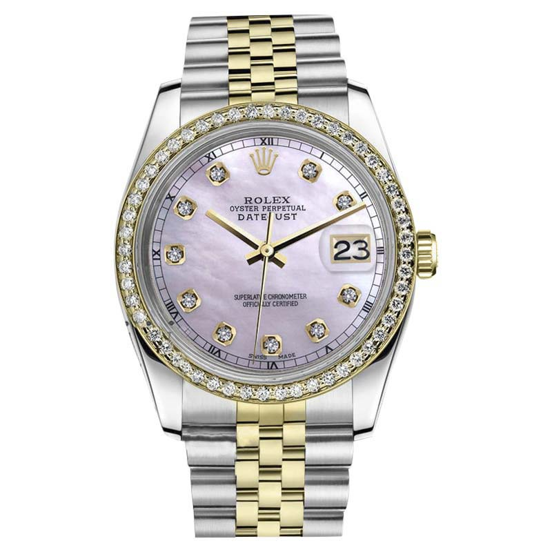 """Image of """"Rolex Datejust 18K Yellow Gold and Stainless Steel Pink Mother Of"""""""