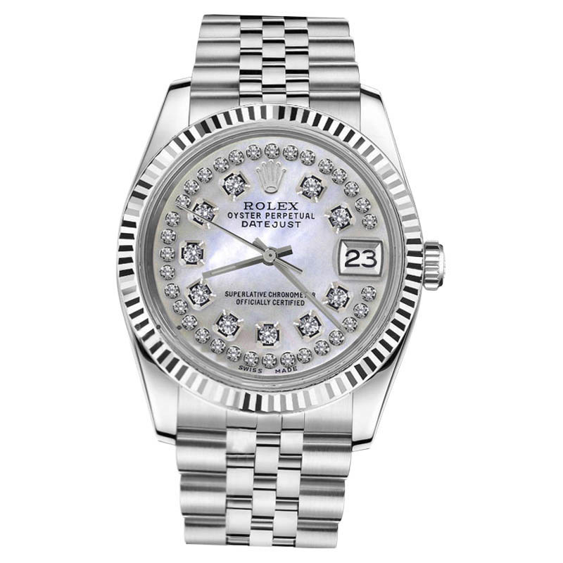 "Image of ""Rolex Datejust White Mother Of Pearl String Round Diamonds Steel 26mm"""