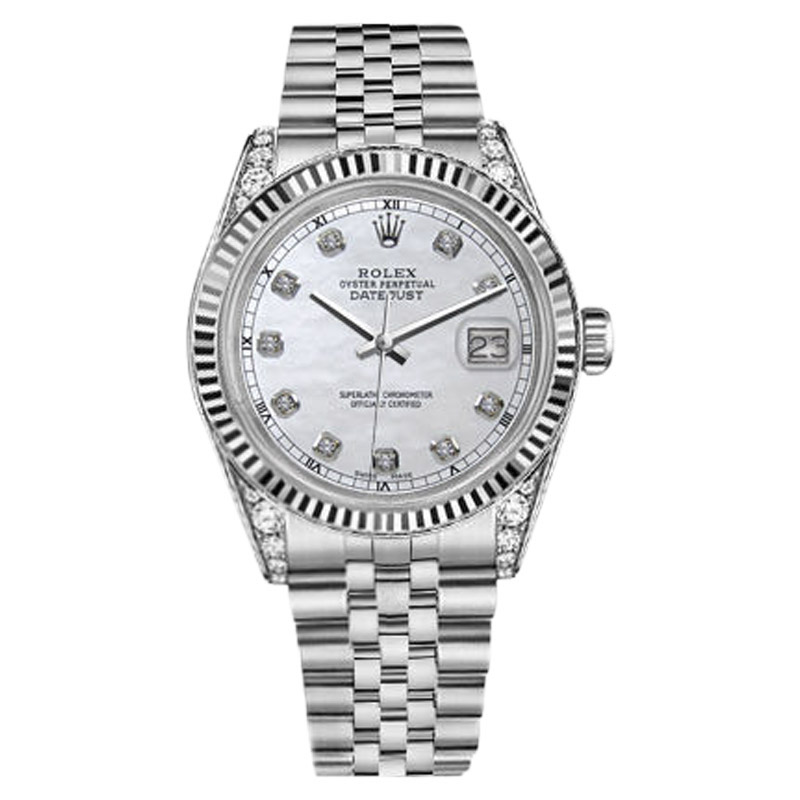 """Image of """"Rolex Datejust 18K White Gold & Stainless Steel White Pearl Diamond"""""""