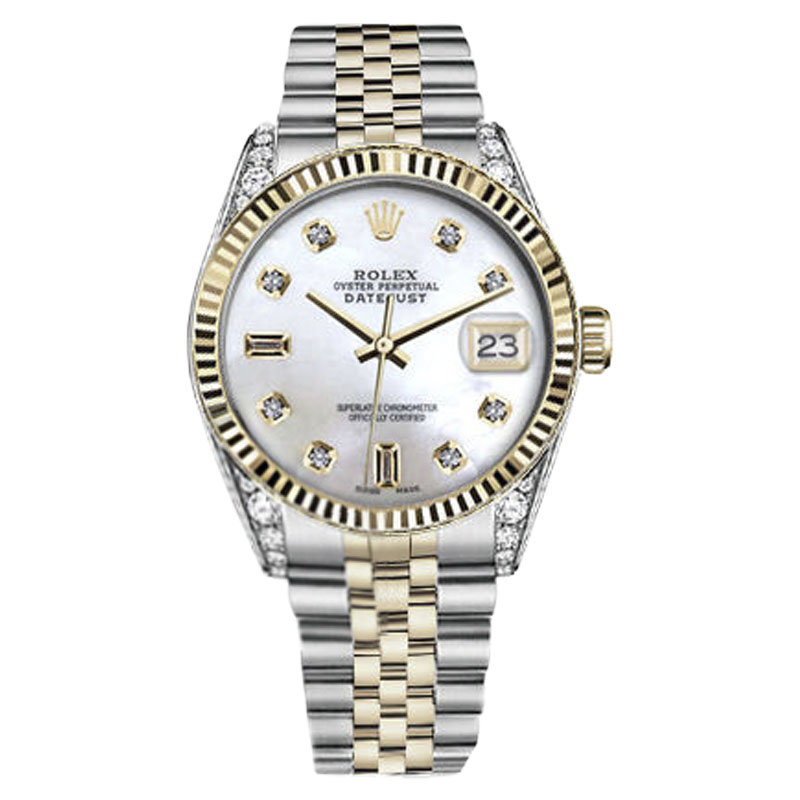 "Image of ""Rolex Datejust Stainless Steel/ 18K Gold White MOP Mother Of Pearl 8 +"""