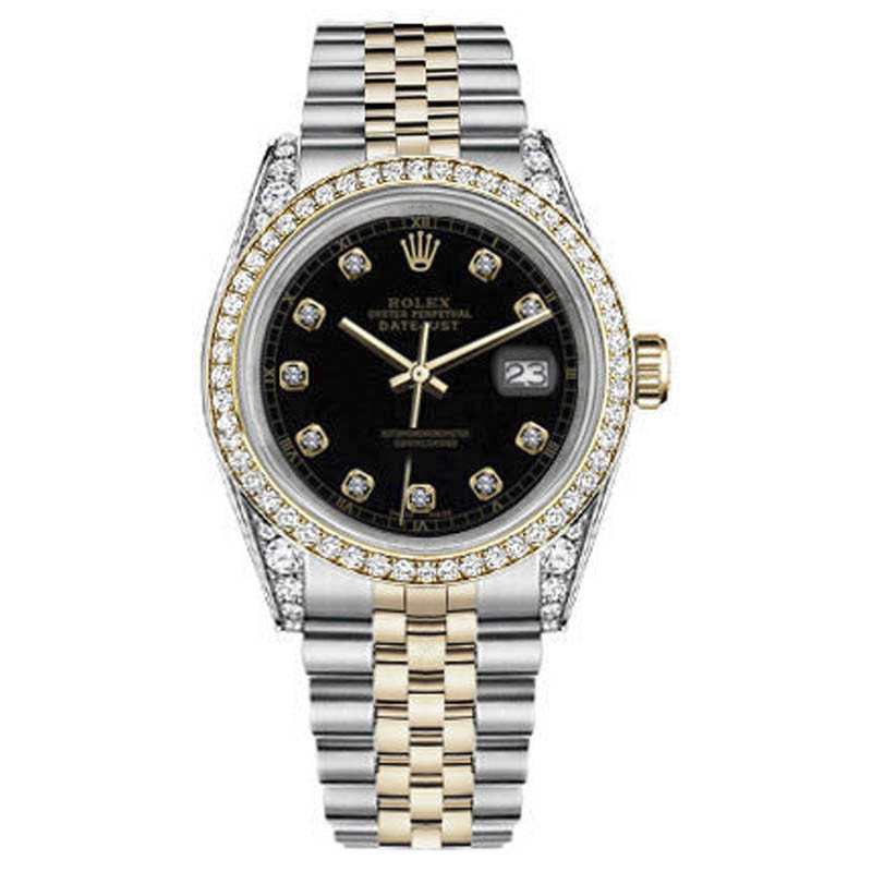 """Image of """"Rolex Datejust Stainless Steel/ 18K Gold Black Roman Jubilee Two Tone"""""""
