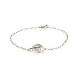 Cartier Love 18K White Gold Double Mini Ring Charm Chain Bracelet Size 7