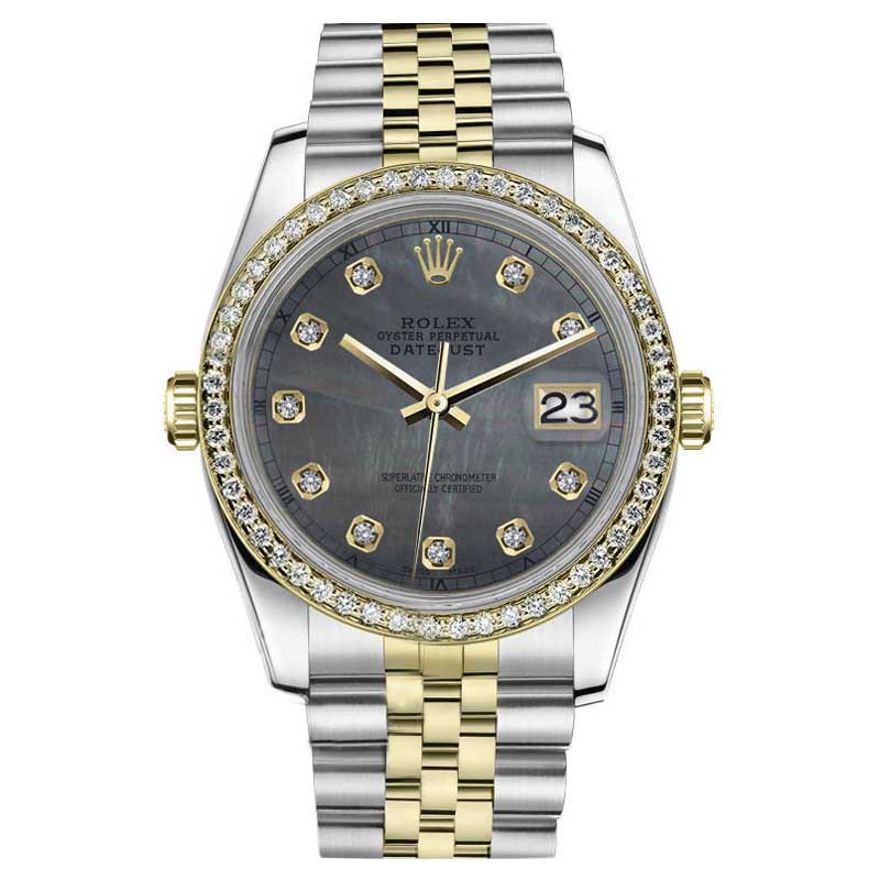 "Image of ""Rolex Datejust Stainless Steel/ 18K Gold Black MOP Mother Of Pearl"""