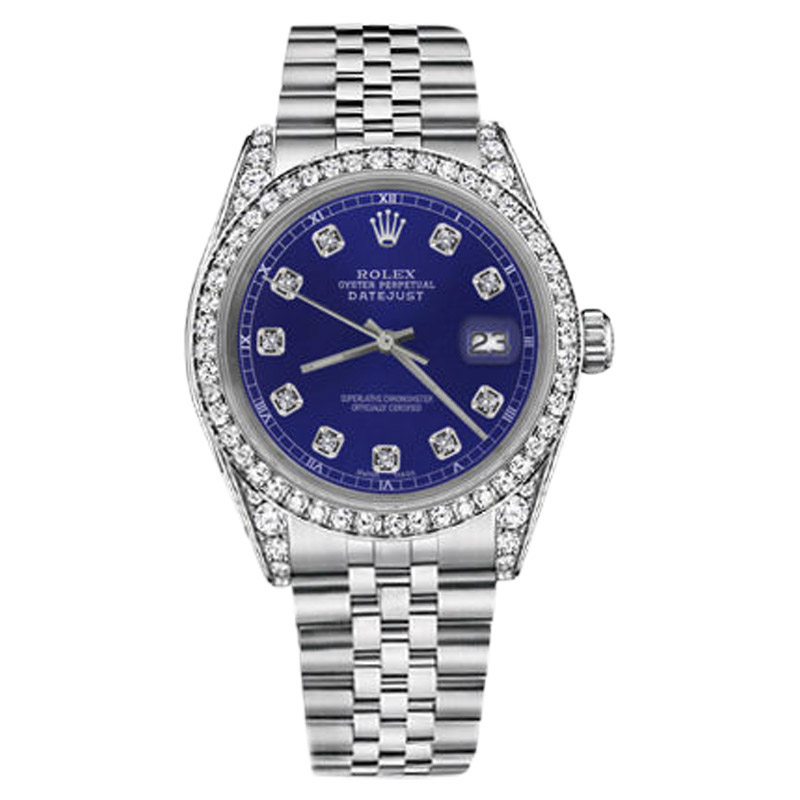 """Image of """"Rolex Datejust Stainless Steel Blue Diamond Accent Dial 26mm Watch"""""""
