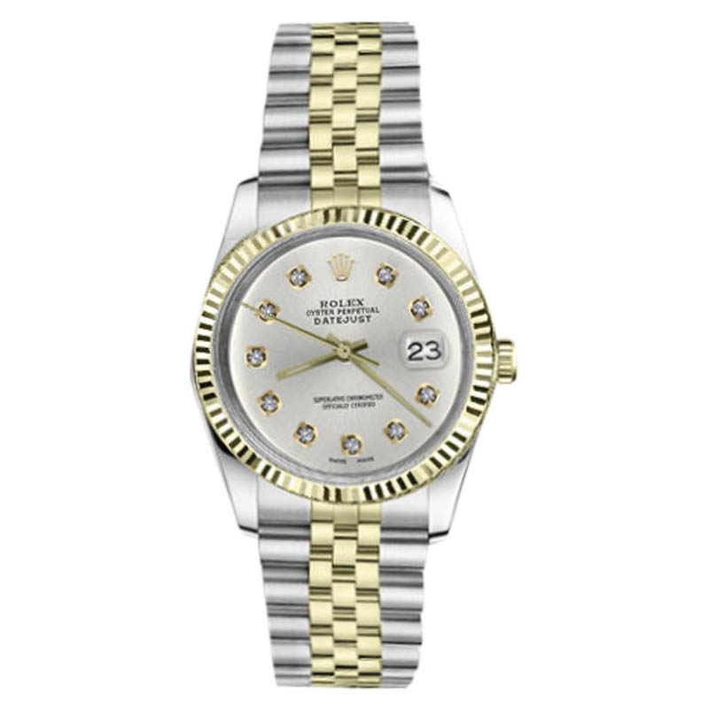 "Image of ""Rolex Datejust 2Tone 18K/Stainless Steel Silver Dial 10 Round Cut"""