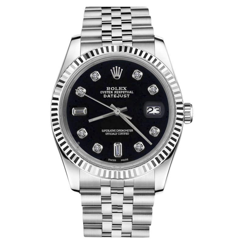 """Image of """"Rolex Datejust 18K White Gold & Stainless Steel Black Diamond Dial"""""""