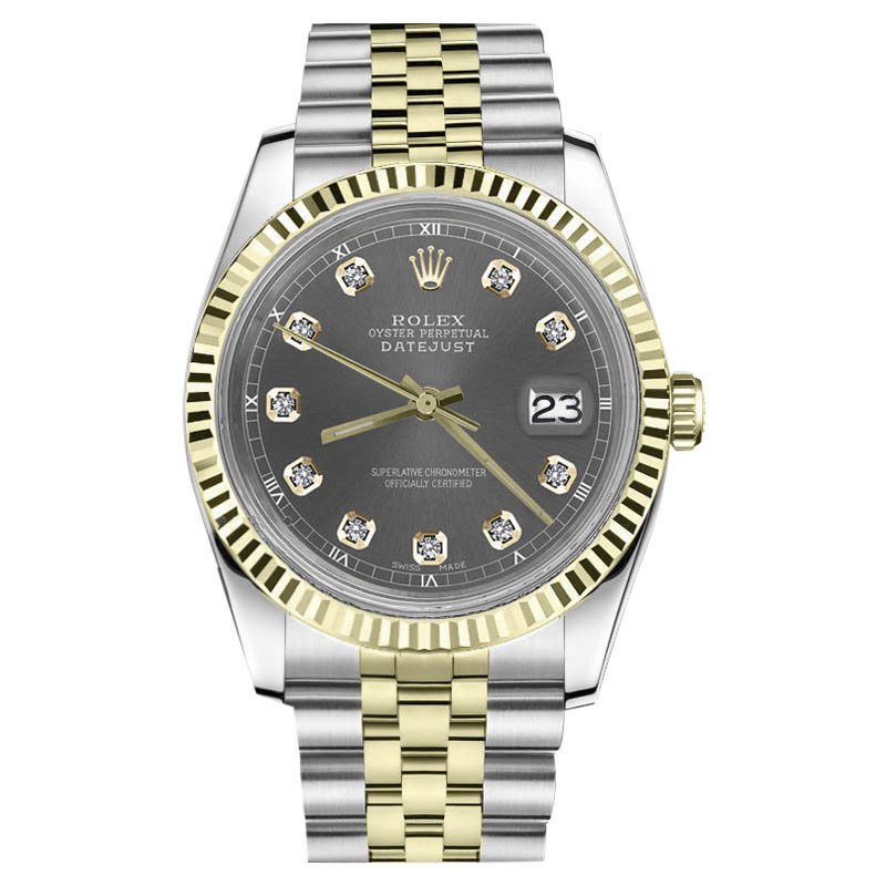 """Image of """"Rolex Datejust Stainless Steel/ 18K Gold Dark Grey Diamond Accent Dial"""""""