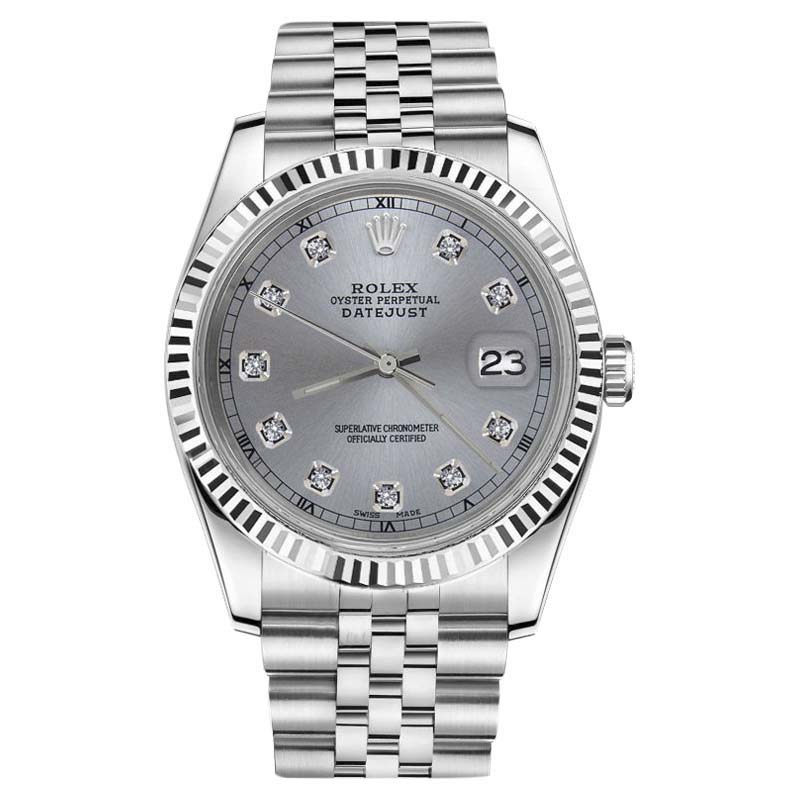 "Image of ""Rolex Datejust Stainless Steel Gunmetal Grey Round Cut Diamonds 31mm"""