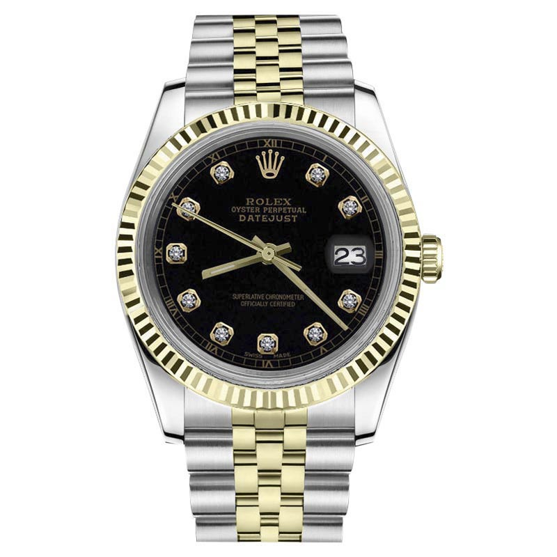 "Image of ""Rolex Datejust Stainless Steel/ 18K Gold Black Face w/ Diamond Accent"""