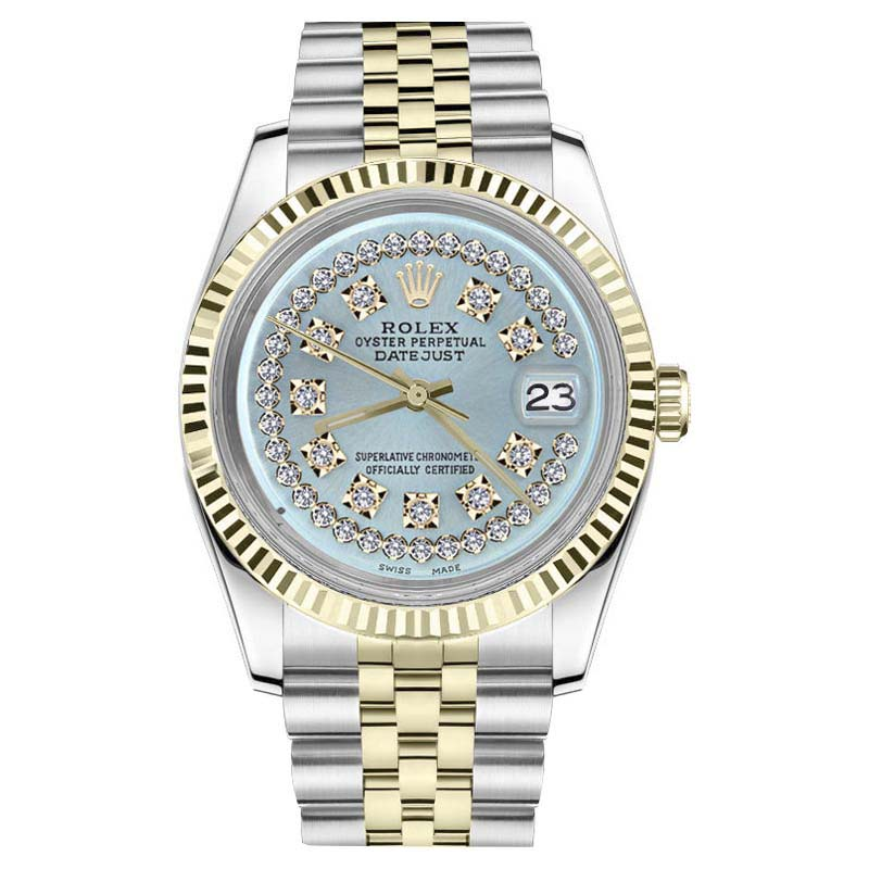 """Image of """"Rolex Datejust Stainless Steel/ 18K Gold Ice Blue String Diamond Dial"""""""