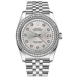 Rolex Datejust Stainless Steel & Silver String Diamond Dial 31mm Womens Watch
