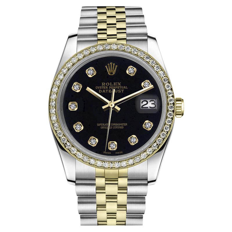"""Image of """"Rolex Datejust Stainless Steel & 18K Yellow Gold Black Diamond Dial"""""""