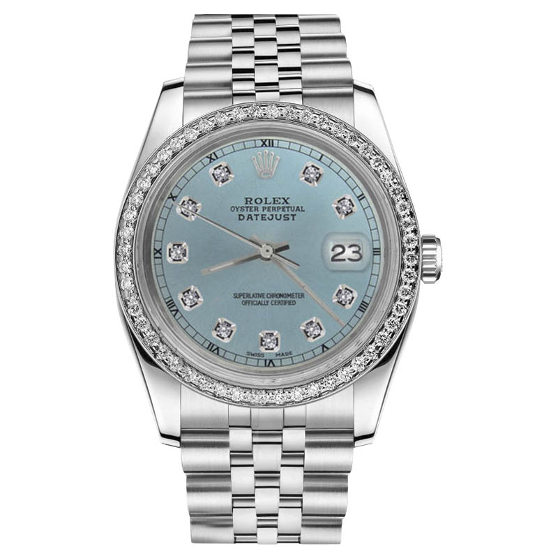 """Image of """"Rolex Datejust Stainless Steel & Ice Blue Diamond Dial 31mm Womens"""""""