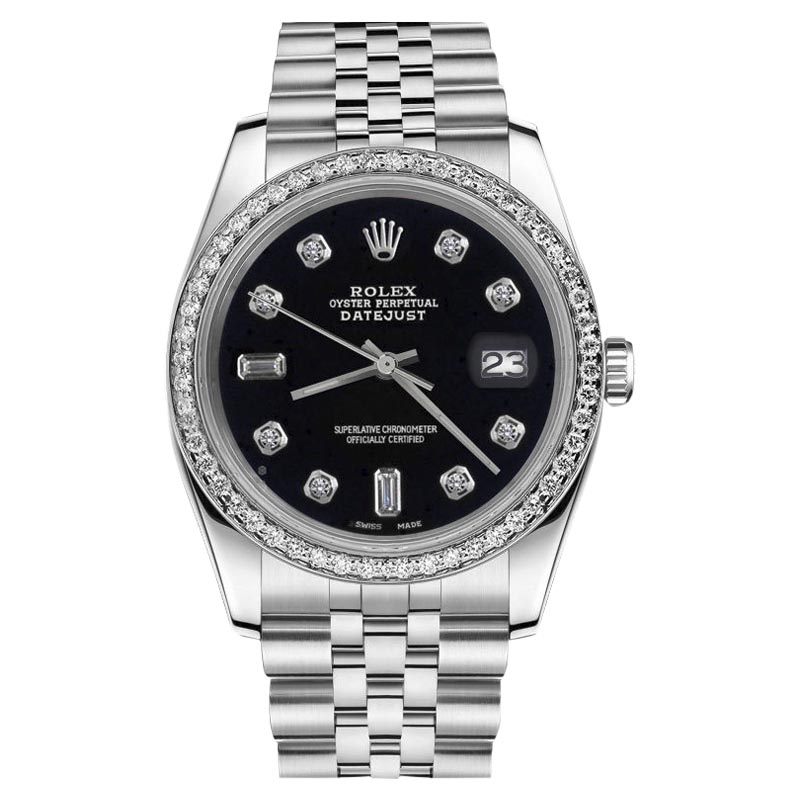 """Image of """"Rolex Datejust Black Stainless Steel Diamond Accent Jubilee 31mm"""""""