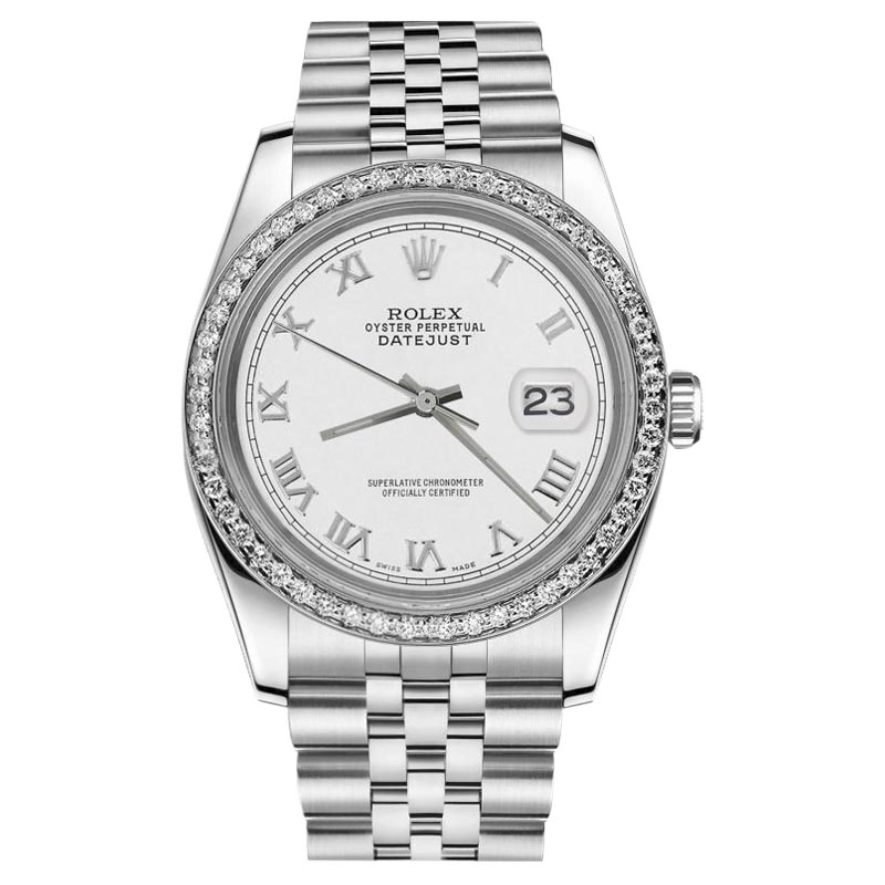 "Image of ""Rolex Datejust Stainless Steel Diamond White Roman Numeral Dial 31mm"""