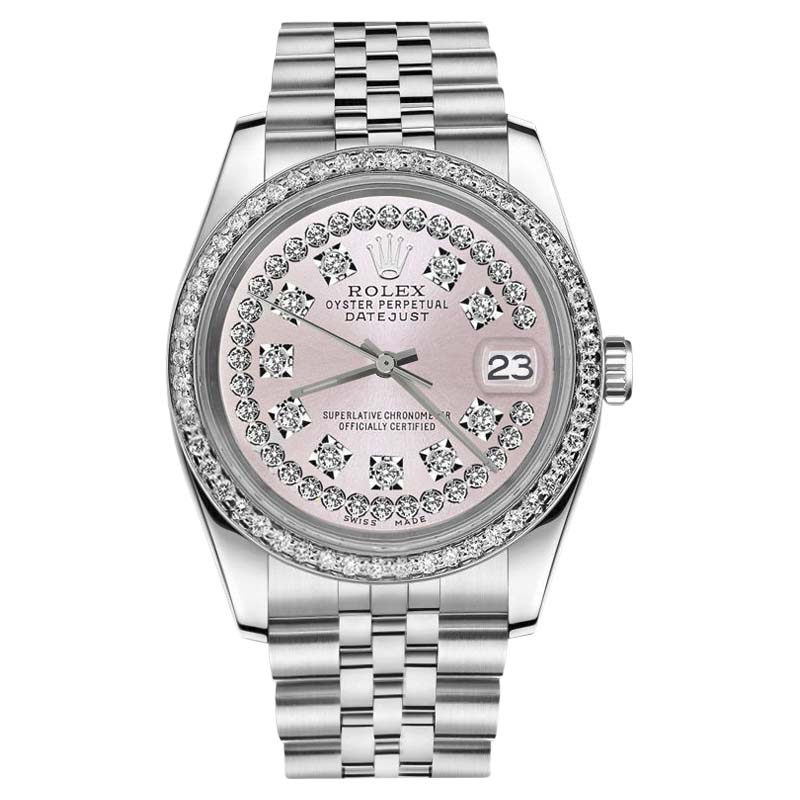 """Image of """"Rolex Datejust Stainless Steel Pink String Diamond Dial with 31mm"""""""
