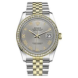 Rolex Datejust Stainless Steel/ 18K Gold Slate Grey Roman Numeral Dial 36mm Womens Watch
