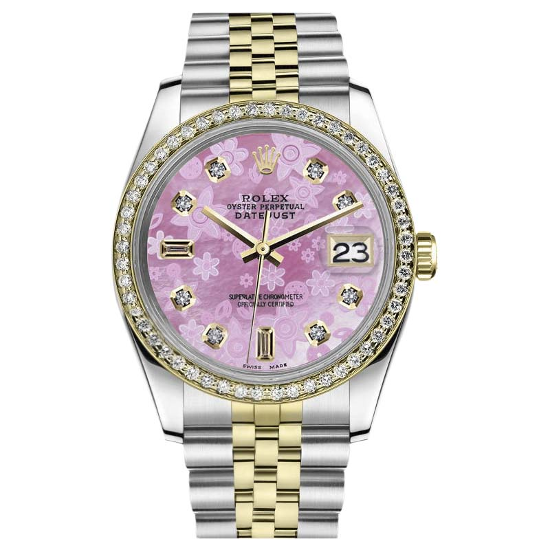 """Image of """"Rolex Datejust Stainless Steel/ 18K Gold Pink Flower MOP Mother of"""""""