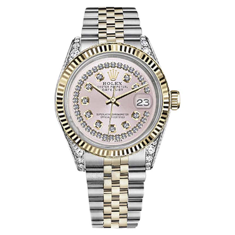 """Image of """"Rolex Datejust Stainless Steel/ 18K Gold Pink String Diamond Dial 36mm"""""""
