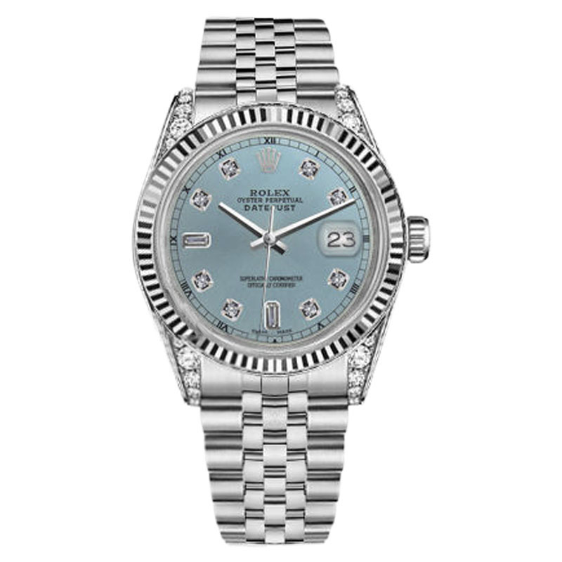 "Image of ""Rolex Datejust Stainless Steel Ice Blue Color Dial with 8 + 2 Diamond"""