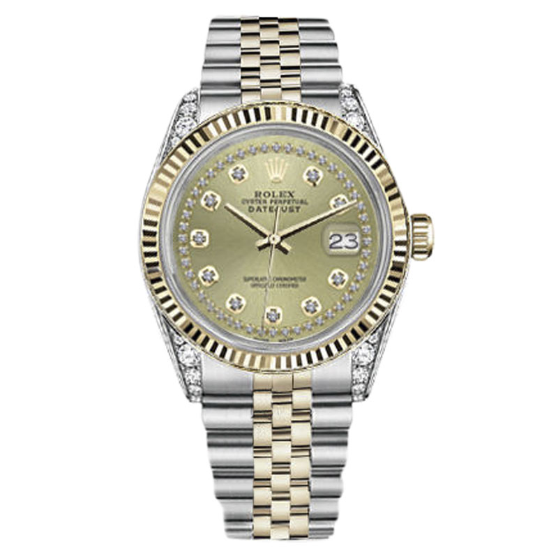 """Image of """"Rolex Datejust Stainless Steel/ 18K Gold Champagne Color String"""""""