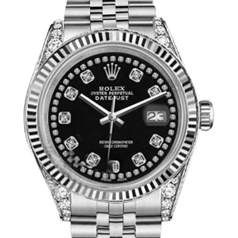 """Image of """"Rolex Datejust Stainless Steel Black Color String Diamond Accent Dial"""""""