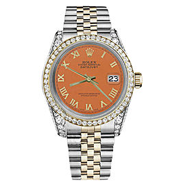 Rolex Datejust Two Tone 18K Gold/Stainless Steel Orange Roman Numeral with Diamond 36mm Unisex Watch