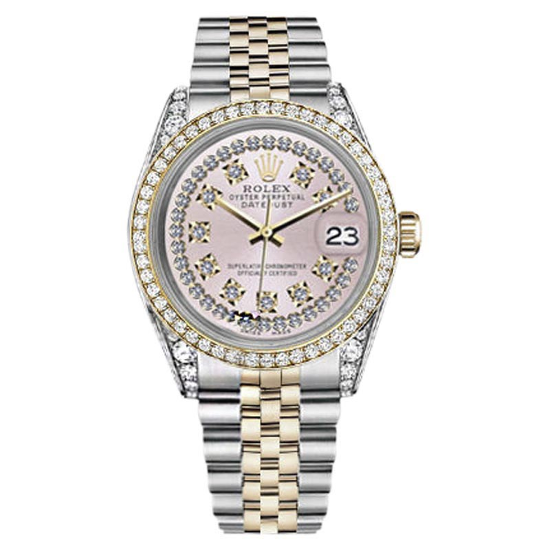 """Image of """"Rolex Datejust Steel and Gold Pink String Diamond Dial 36mm Unisex"""""""