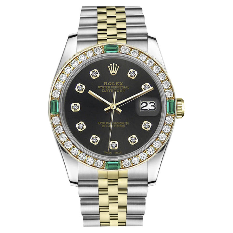 "Image of ""Rolex Datejust Stainless Steel/ 18K Gold Chocolate Dial Emerald"""
