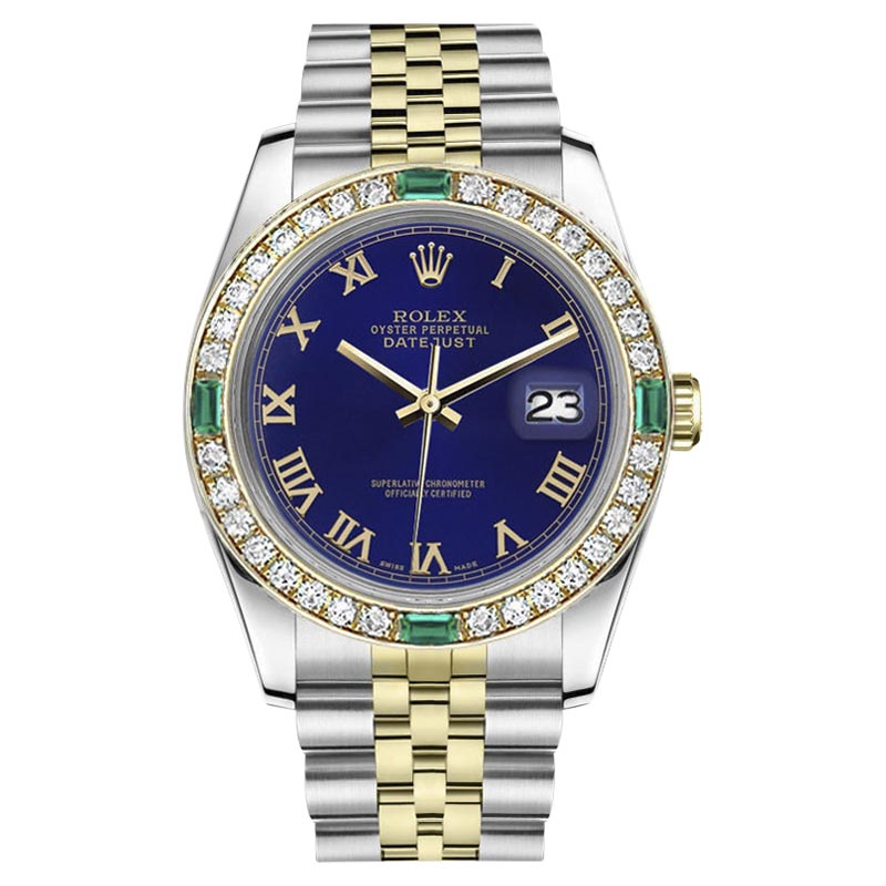 """Image of """"Rolex Datejust Stainless Steel/ 18K Gold Blue Color Emerald Roman"""""""