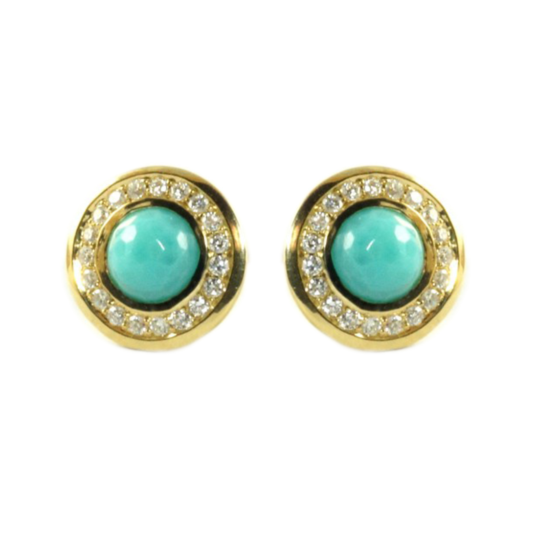 "Image of ""Ippolita 18K Yellow Gold Turquoise Diamond Mini Stud Earrings"""