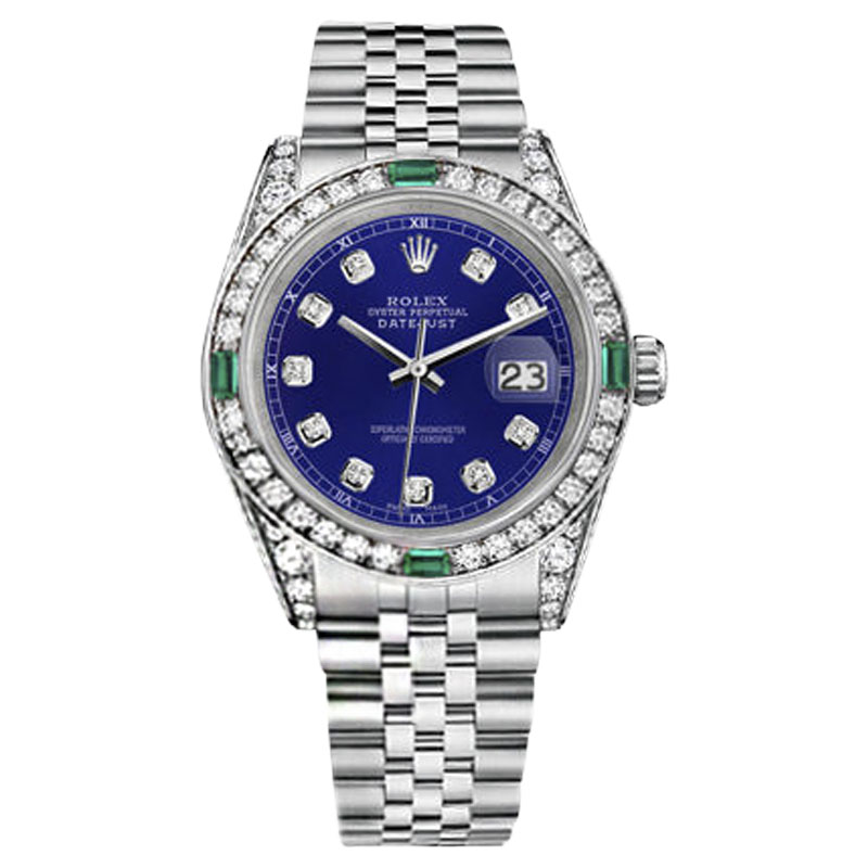 """Image of """"Rolex Datejust Stainless Steel Blue Emerald & Diamond Dial 26mm Womens"""""""