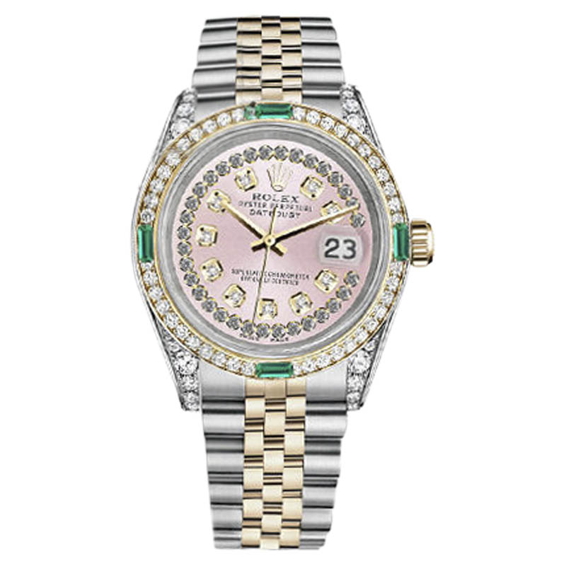 """Image of """"Rolex Datejust Steel and Gold Pink String Emerald Diamond Dial 26mm"""""""